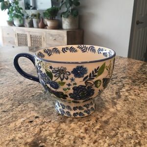 Anthroplogie blue & green floral/butterflies mug